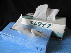 うすめ液を拭き取ったりするときのティッシュペーパーとキムワイプの画像